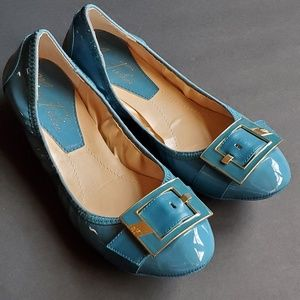 Marc Fisher Blue Patent Leather Ballet Flats 7.5